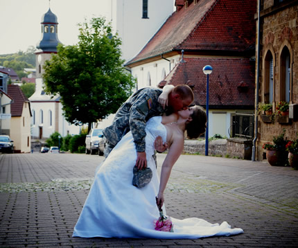 A military couple that were marriaged by double proxy.